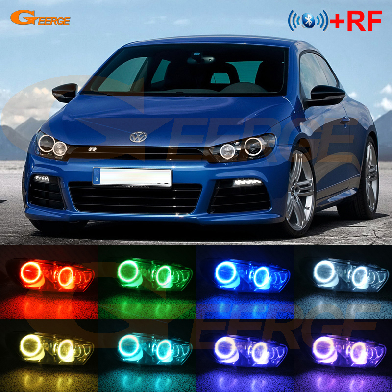 For Volkswagen VW Scirocco 2008 2013 xenon headlight RF Bluetooth Controller Multi Color Ultra bright RGB LED Angel Eyes kit
