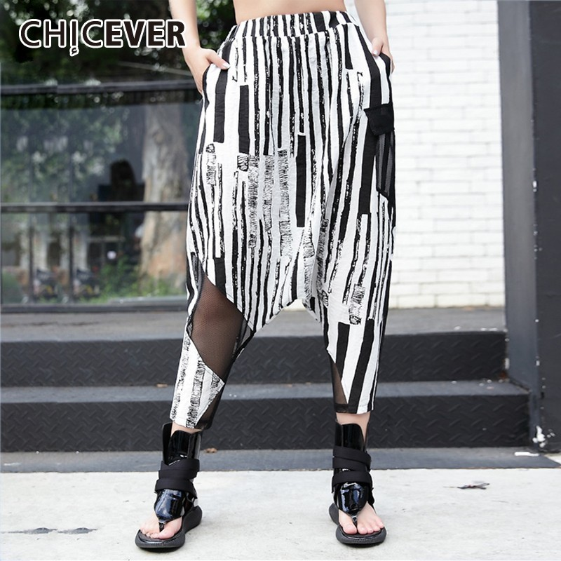 CHICEVER Summer Casual Striped Print Women   Pants   Elastic High Waist Pockets Slim Ankle Length   Wide     Leg     Pants   2019 Fashion New