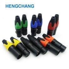 12 teile/los 3 pin lautsprecher stecker männlich und weiblich mikrofon stecker farbe mic stecker vergoldung 6 farbe XLR stecker