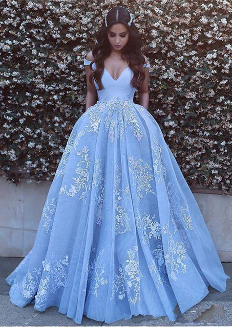 094501e1ab 2019 New Light Sky Blue Quinceanera Ball Gown Dresses Off Shoulder Lace  Appliques Beaded Sweet 16