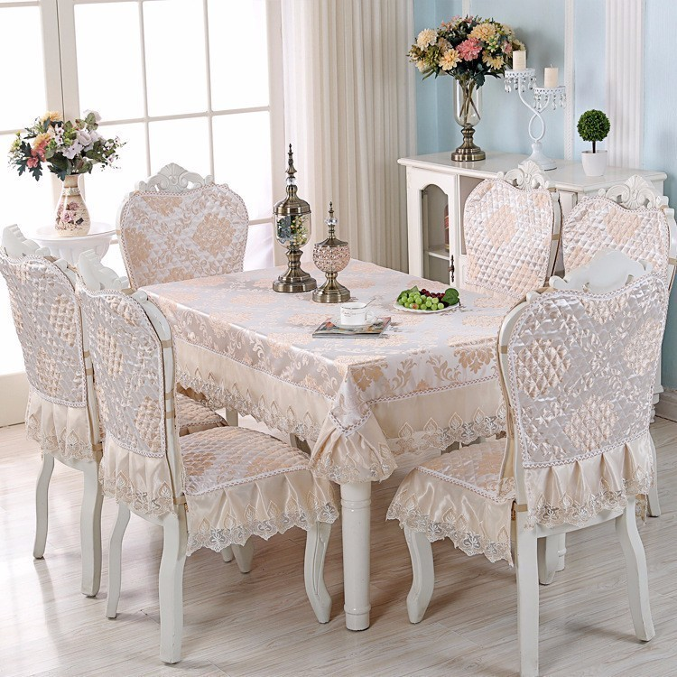 Us 13 95 25 Off Luxury Europe Table Cloth Satin Fl Lace Chair Seat Cover Dining Party Banquet Wedding Decoration Tablecloth Tapete In