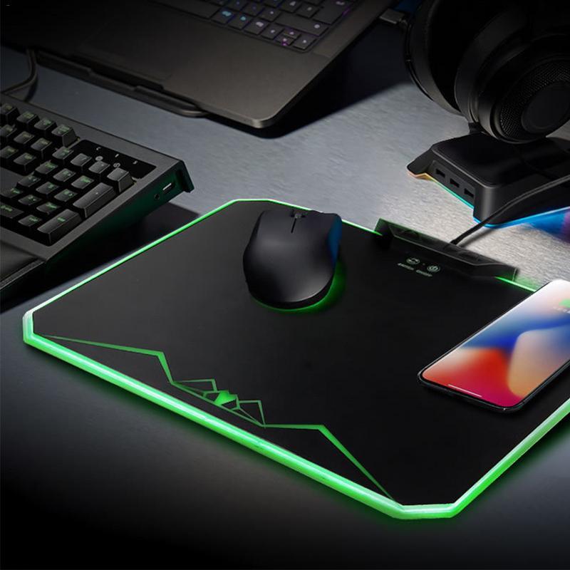 Tapis de souris Qi sans fil à recharge rapide pour iPhone X iPhone 8 Galaxy S8 S9 Plus Samsung Note 8 9
