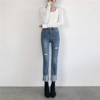 High Bullet Comfort2019 Spring Trousers Cotton Ankle Length Pants High Broken Hole Skinny Women's Jeans Flare Pants