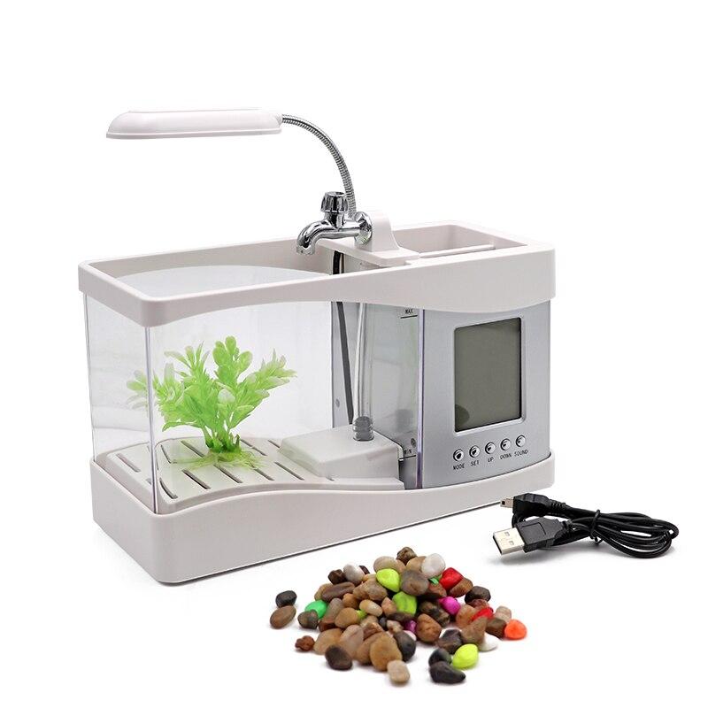 Aquarium Mini Aquarium d'aquarium d'aquarium avec écran d'affichage à cristaux liquides de lumière de lampe à LED et Aquarium de réservoir de poissons d'horloge - 2