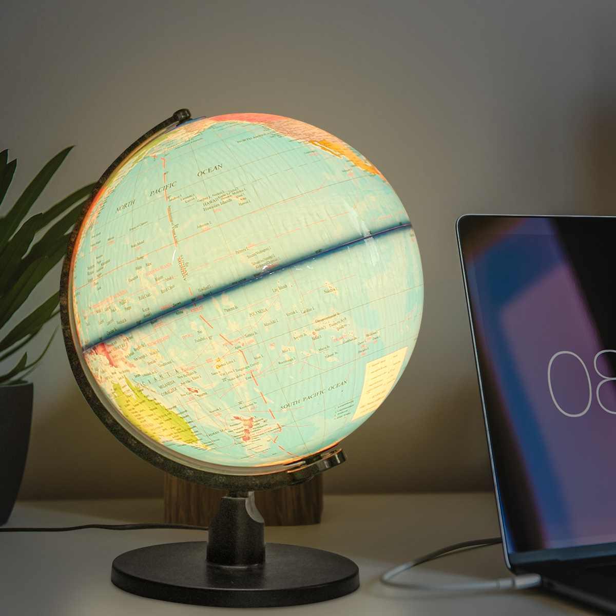 25 cm en plastique Terrestre monde Globe terre carte avec lumière LED étudiants géogrephy outils éducatifs maison bureau décor ornements