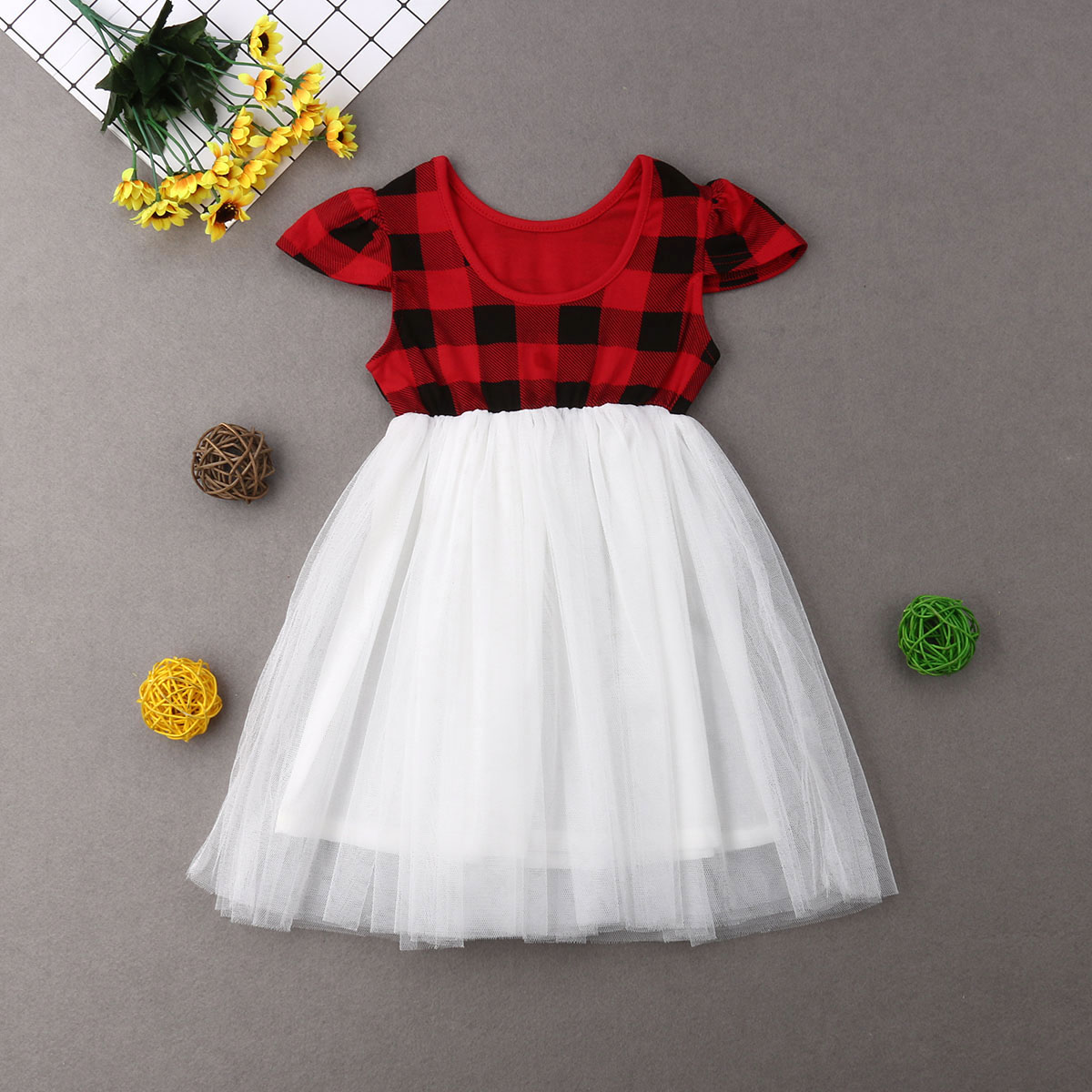 Mia /& Mimi Girls Toddler Christmas//Holiday//Fancy Red Plaid Dress