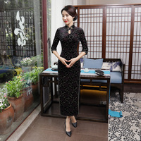SHENG COCO Chinese Black Velvet Cheongsam Dresses Improvement Long Shanghai Woman Banquet Evening Dress Gold Thread Qipao XL 4XL