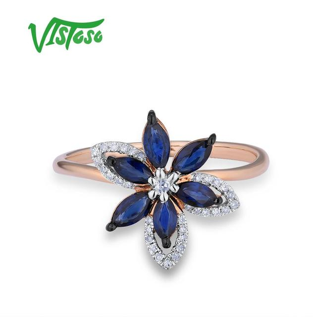 585 Rose Golden Ring with Blue Sapphire 1