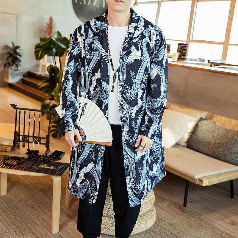 #4379 2019 Frühling Vintage Mantel Mit Kapuze Männer Kran Print Street Windbreaker Plus Größe 4xl 5xl Gerade Dünne Lange Graben Mantel