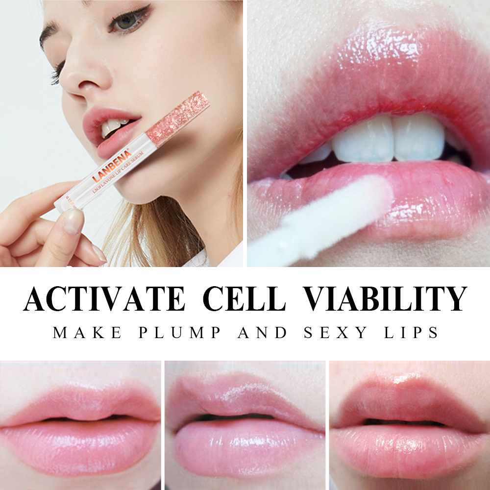 Lanbena Updated Version Lip Plumper Serum Lip Mask Reduce Fine Lines Increase Lip Elasticity Resist Aging Moisturizing Lip Care