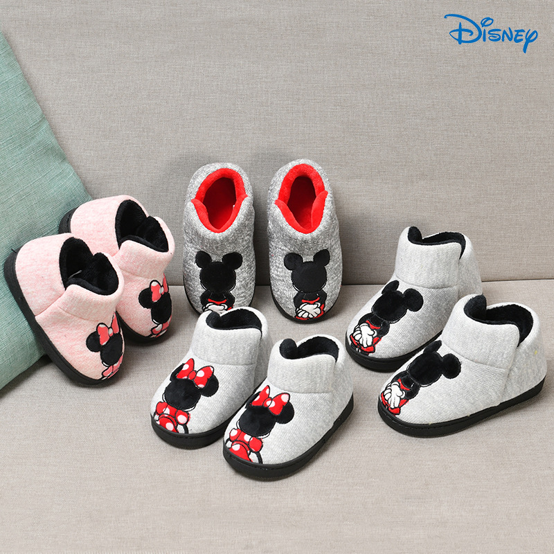 Disney Mickey Minnie Winter Children 'S Cotton Slipper Shoes Boys/Girls Indoor Slipper  Warming Home Toddler Baby Shoes