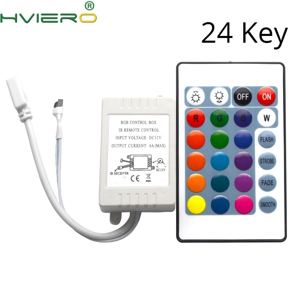 24Keys RGB LED Light Controller IR RF Remote Wireless Controller Dimmer DC 12V 6A For RGB SMD 3014 2835 3528 5050 3014 LED Strip