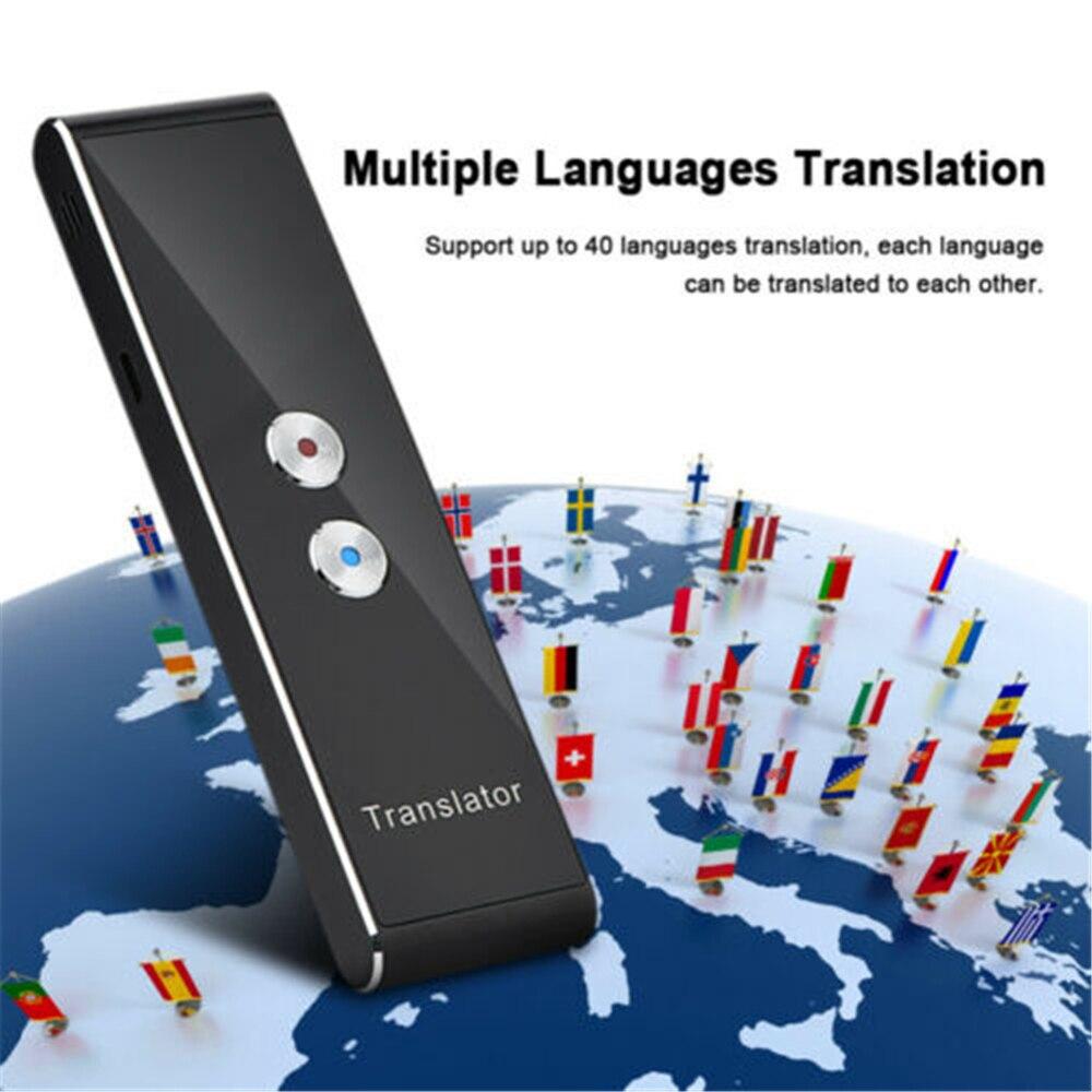 T8 Portátil Mini Sem Fio Inteligente Tradutor Idiomas 40 Two-Way Em Tempo Real Instantâneo APLICATIVO Tradutor De Voz Bluetooth Multi- língua