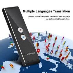 T8 portátil mini tradutor inteligente sem fio 40 idiomas em dois sentidos em tempo real tradutor de voz instantânea app bluetooth multi-idioma