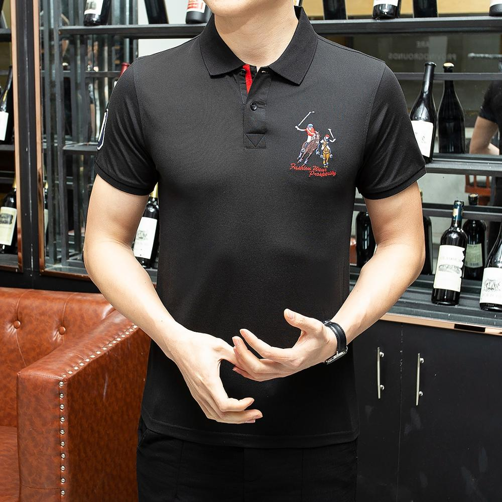 Hayblst 2019 New Brand Business   Polo   Shirt Men Casual Hombre Embroidery Cotton Ralphmen Short Sleeve Tops Tees Solid Slim Homme