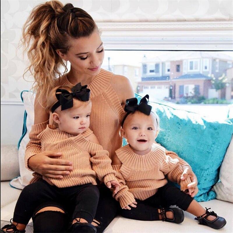 Pudcoco Heißer Verkauf Familie Passenden Outfits Mutter Und Tochter Winter Stricken Warme Pullover Freizeit Weibliche Mädchen Komfort Jumper Geschenk