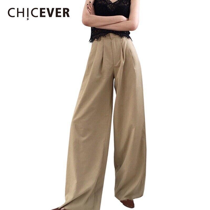 CHICEVER 2018 primavera pantalones de las mujeres pantalones de pierna ancha  de cintura alta con cremallera eda10aac0e4