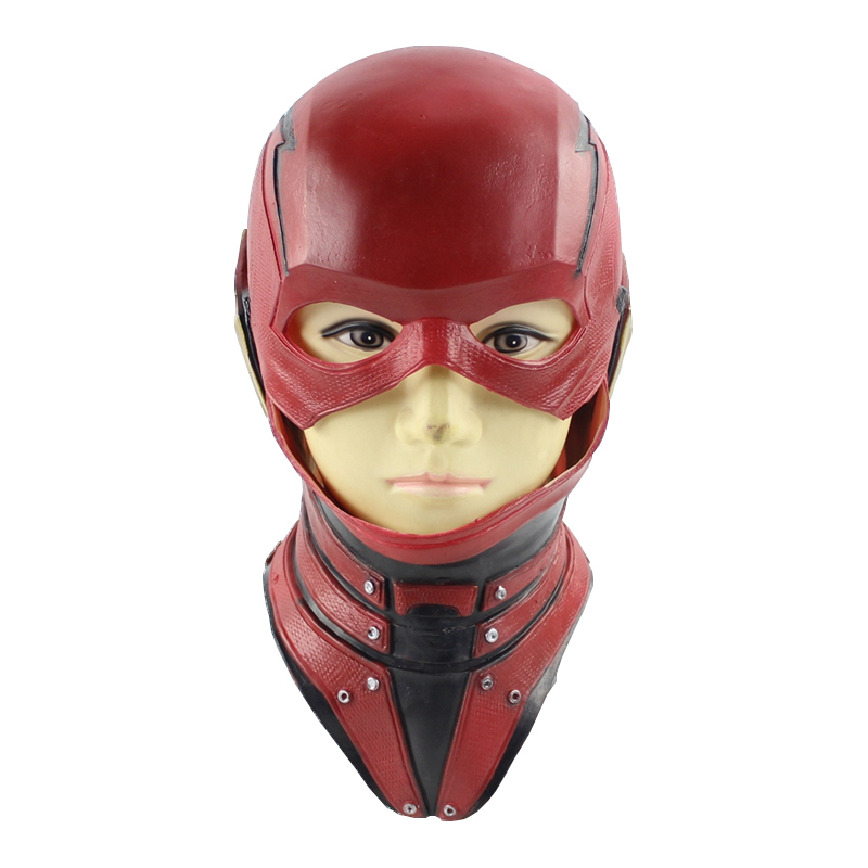 Superhero The Flash Mask Cosplay Movie DC Barry Allen Full Face Latex Mask Costume Prop Halloween Party Masks Adult
