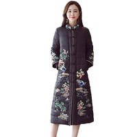 Winter Jacket Women Vintage Embroidery Cotton Padded Coat 2018 Chinese National Style Stand Collar Long Thick Cotton Parka A605