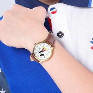 Image 4 - דיסני מותג מיקי מאוס נשים שעונים גבירותיי גברים עור קוורץ שעונים לילדים שעונים עבור בנות בני מקורי אריזת מתנה