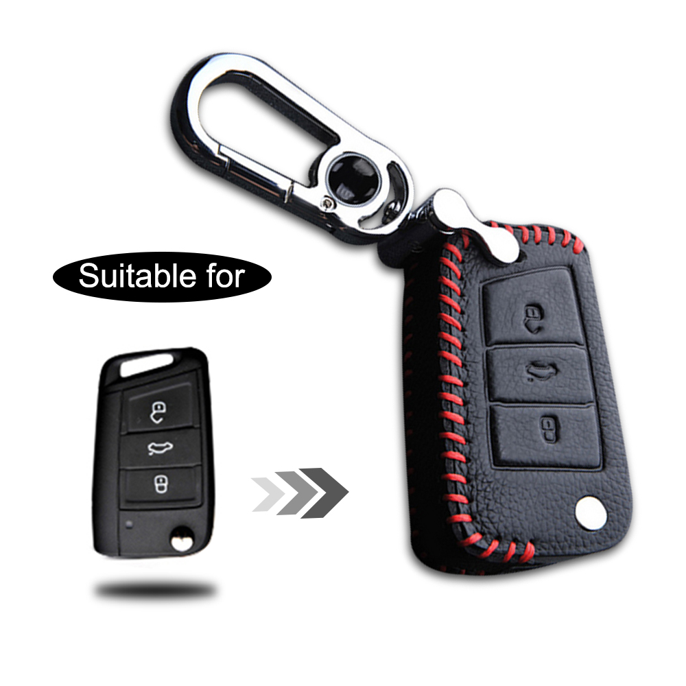 Car Key Cover Case For Skoda Yeti Fabia Octavia Rapid Genuine Leather 3 Buttons Folding Key With Shell Keychain Car Accessories