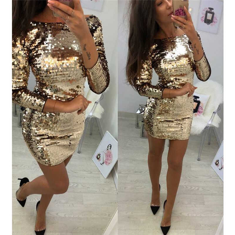 Ladies Formal Evening Party Sexy Sequin Club Short Dresses Sexy Vestidos Autumn  Dresses Women Golden Sequins Bodycon Dress
