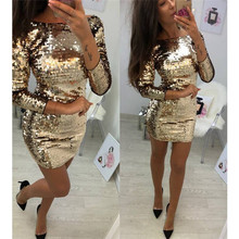 Ladies Formal Evening Party Sexy Sequin Club Short Dresses Sexy Vestidos Autumn Dresses Women Golden Sequins Bodycon Dress(China)