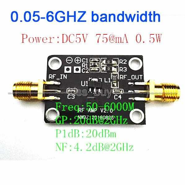 High linearity LNA 0 05-6GHZ bandwidth RF amplifier Signal Receiver FM HF  VHF / UHF Ham Radio