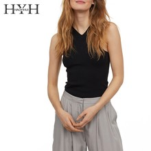 HYH Haoyihui 2019 Simple Sexy Top Basic V-neck Type Work Slim Bottoming Vest New Arrival T-shirt
