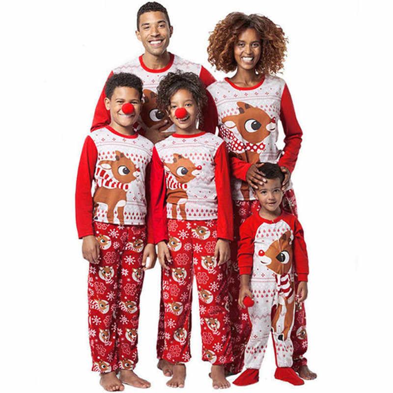 Christmas Family Pajamas Set Xmas Family Matching Pyjamas Adult Kid Deer  Cartoon Cute Sleepwear Cotton Party e57d3fb4d