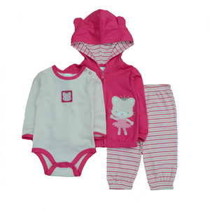 Image 3 - 2019 3PCS/Lot Suits Coat Bodysuit Pants Cotton Long Sleeve Winter Newborn Baby Girls Clothes Baby Boy Clothes Set