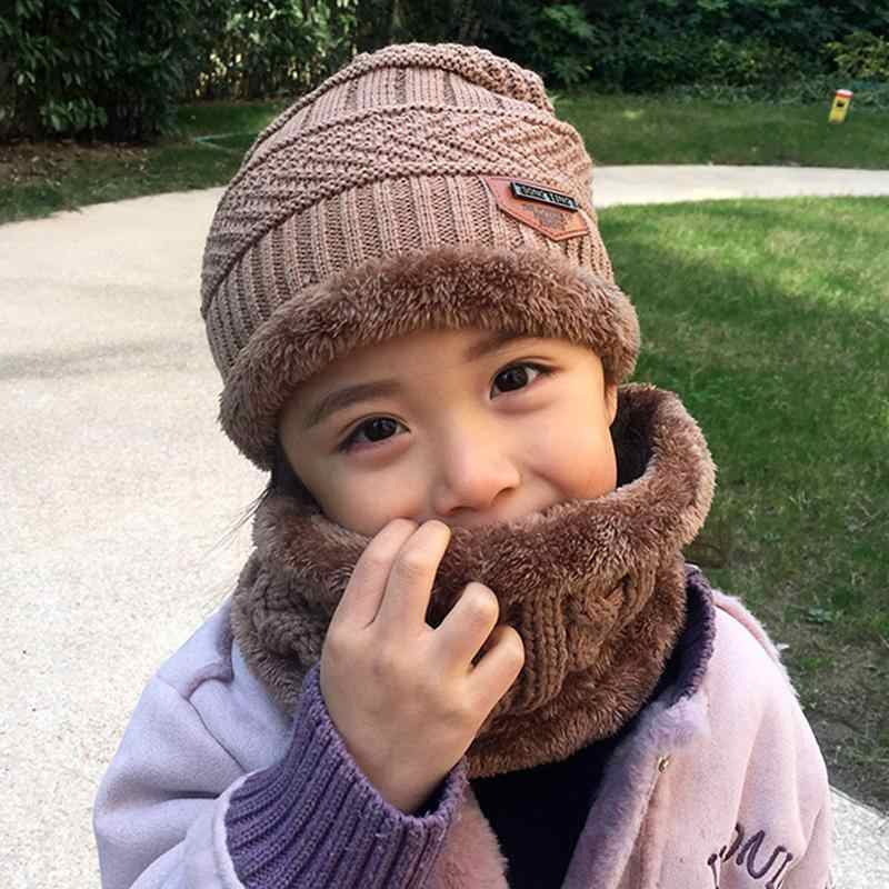2pcs Kids Winter Warm Knitted Hat beanies Scarf cotton Children Cap and Circle  Scarves skin- 01f37599807f