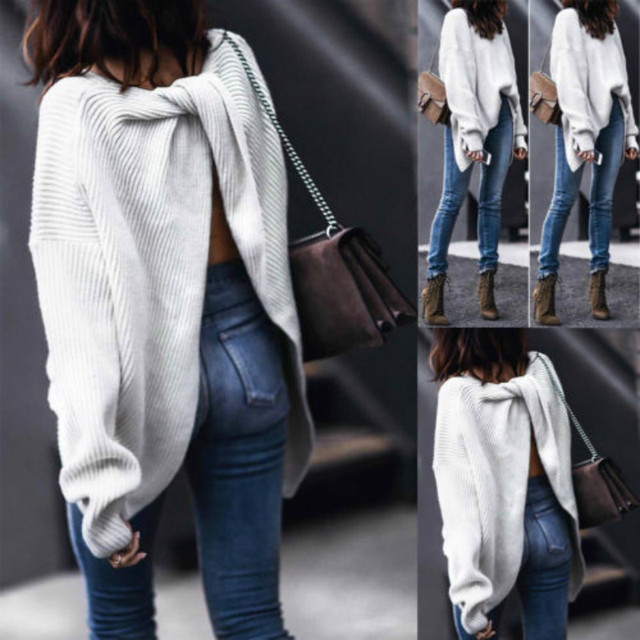 a9fff603f8fa44 Fashion V-Neck Knitted Knot Twist Wrap Front Cross Back Long Sleeve Jumper  Sweater Top