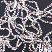 ZOTOONE SS6 1Yard Crystal AB White Rhinestones Chain Strass Applique DIY Stones for Clothes Sew on Rhinestone Nail Decoration E
