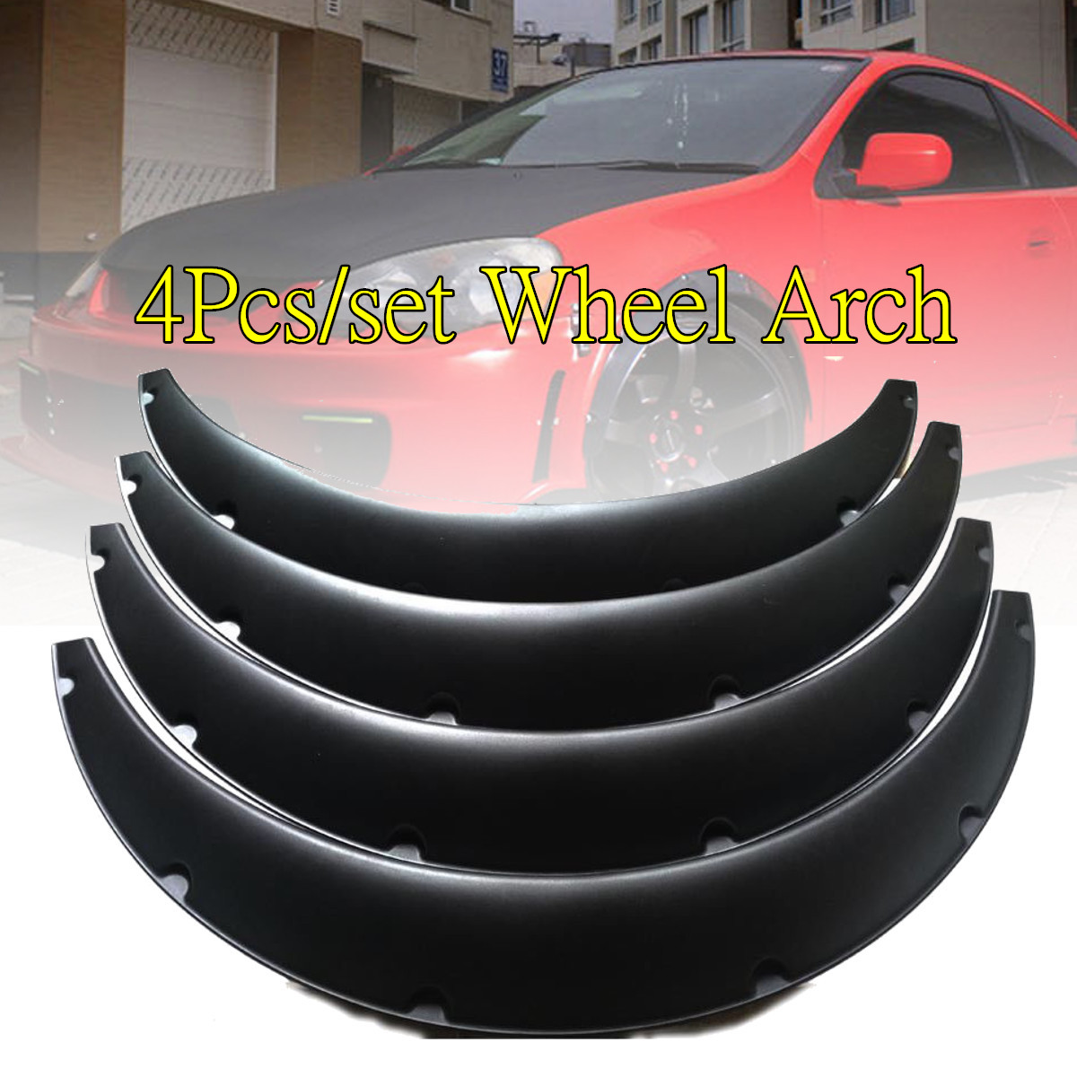 4PCS 3.5/90mm Universal Flexible Car Fenders Mudguard Flares Extra Wide Body Wheel Arches Auto Replacement Exterior Parts Black