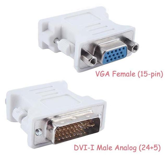 DVI-I 24+5 Male to VGA 15Pin Female Monitor Dual Link Adapter Connector White