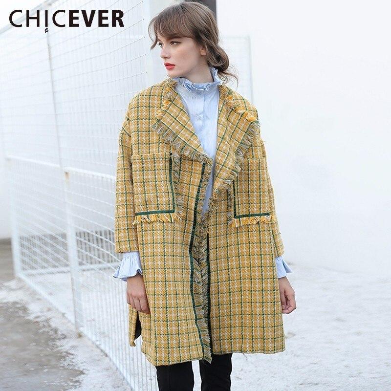 CHICEVER Winter Tassel Cardigan   Trench   Coat Female Women's Windbreaker Loose Big Size Autumn Plaid Long Basic Coats Fashion 2017