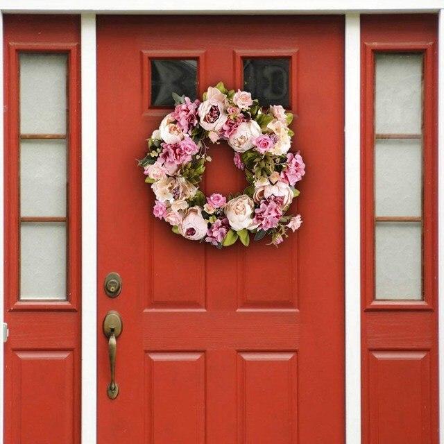 16นิ้วดอกไม้ประดิษฐ์พวงหรีดประตูคุณภาพดีประดิษฐ์Garlandสำหรับงานแต่งงานตกแต่งHome Party Decor