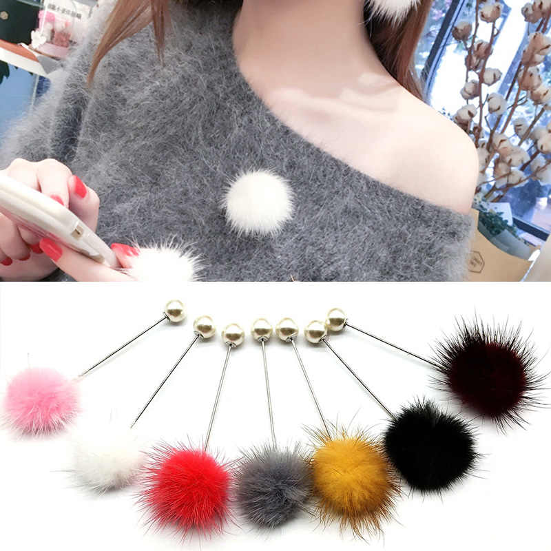 Zoeber New Rabbit Fur Ball Brooch Women Bag 7 Colors Imitation Pearl Ball Badge Pin for Women Piercing Lapel Brooches Collar