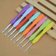 Aluminum Sewing tool crochet hook soft plastic handle rainbow colorful needle for DIY &weave hand sewing &  knitting 8 pcs / set
