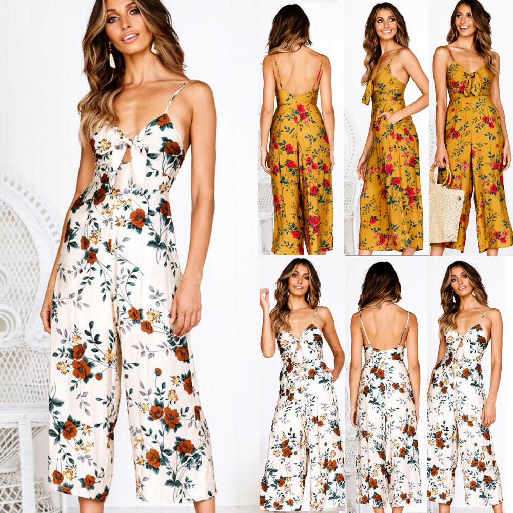 jumpsuit   2019 Summer New Fashion Women's Off Shoulder V Neck Sling Up Backless Loose Party Clubwear Beho Style Floral Print