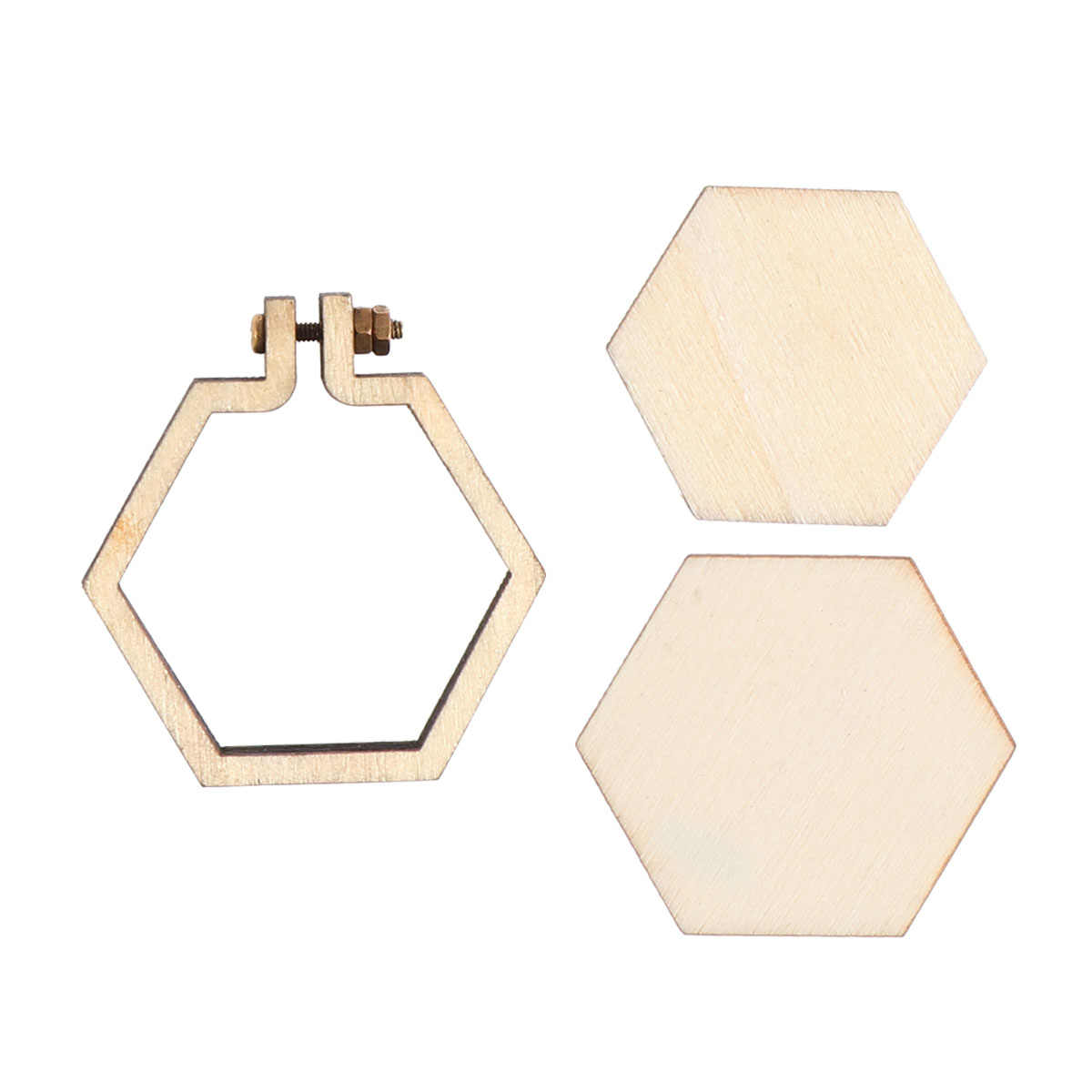 Hexagon Mini Embroidery Hoop Frame Wooden Cross Stitch Hoop Ring DIY Crafts Embroidery Hoops