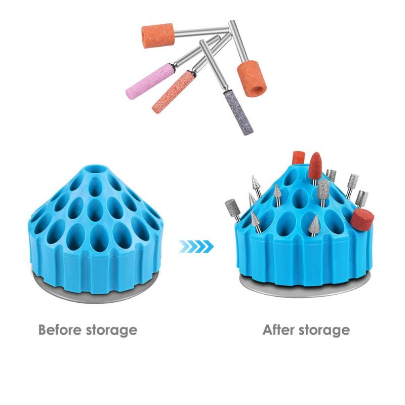 360 Degrees Roatary Box Tool Storage Box Electric Grinding Drill Bit Storage Box Multi-holes Case Stand Hard Plastic Organizer