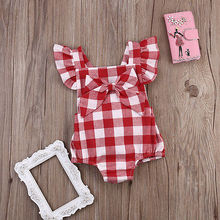 Fashion Toddler Baby Girl Romper Jumpsuit+Bowknot White&Red Plaid 100cmCotton Sunsuit Outfits Summer Clothes Infant Kids 0-18M