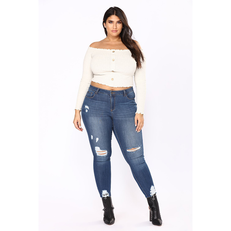 JRNNORV 2018   Jeans   Womens Elastic Skinny Denim Long Pencil Pants Plus Size Woman Hole   Jeans   Camisa Feminina Lady Fat Trousers