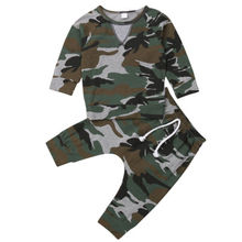 Fashion Newborn Kids Baby Boys Costume Camouflage Long Sleeve Tops T-Shirt Pants Outfits Set цена