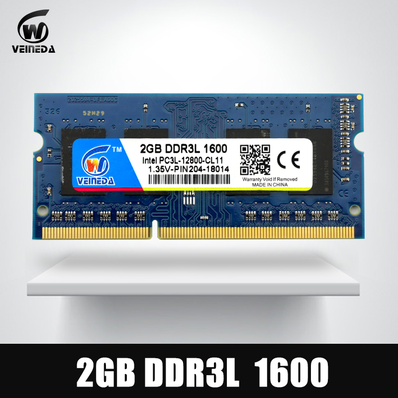 VEINEDA Sodimm DDR3L 2 GB 4 GB 8 GB 1600 MHz de memoria Ram DDR 3L PC3-12800 204PIN Compatible con todos Intel AMD DDR3L portátil