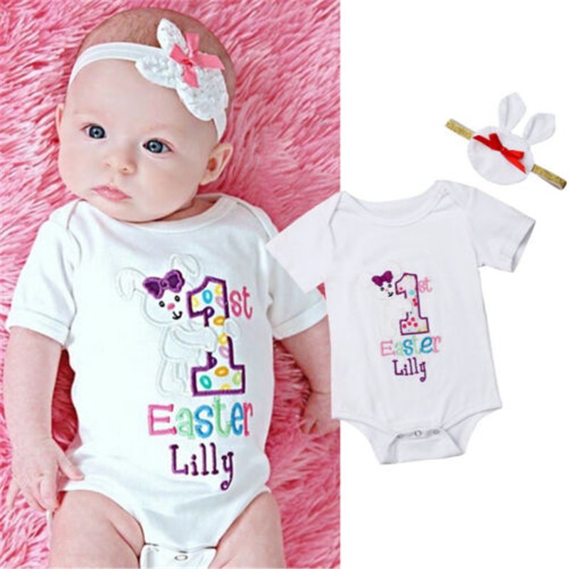 My First Easter Baby Girl Bodysuit Jumpsuit Headband Outfits Clothes Hot New Newborn Baby Girl Clothes Easter Rabbit Bodysuit
