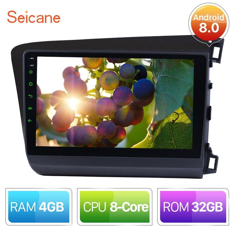 Seicane 9 2 Din Android 8.0 DVD de Voiture Lecteur Multimédia Pour 2012 Honda Civic RHD Contrôle De Volant de Soutien bluetooth Wifi FM