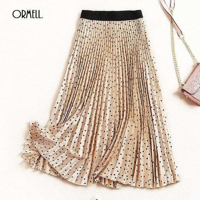 fa5d0cfb3 ORMELL Point Printed Pleated Midi Skirt Women Fashion Casual Solid Female  2019 Spring Summer Slim Elastic High Waist Skirts